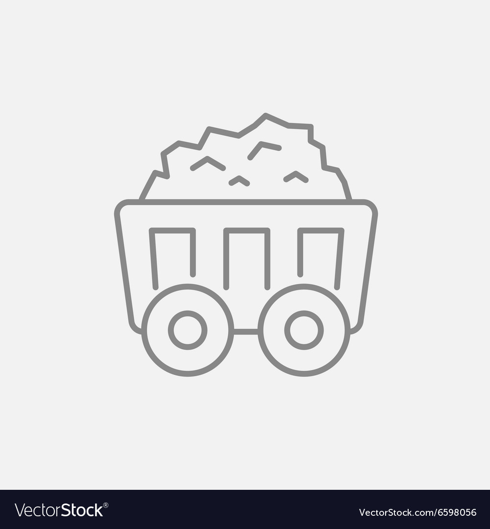 Mining coal cart line icon vector
