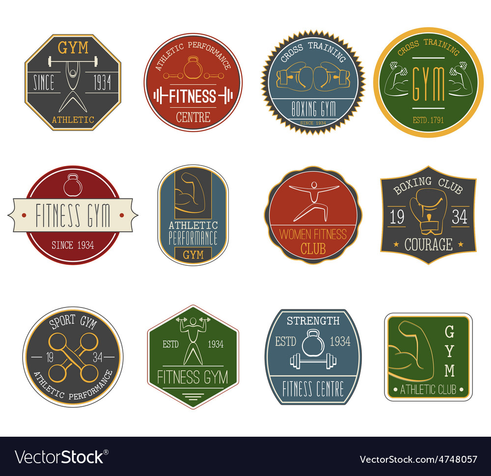 Fitness vintage labels set vector