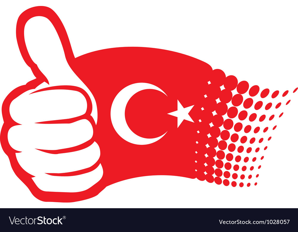 Flag of turkey  hand showing thumbs up vector