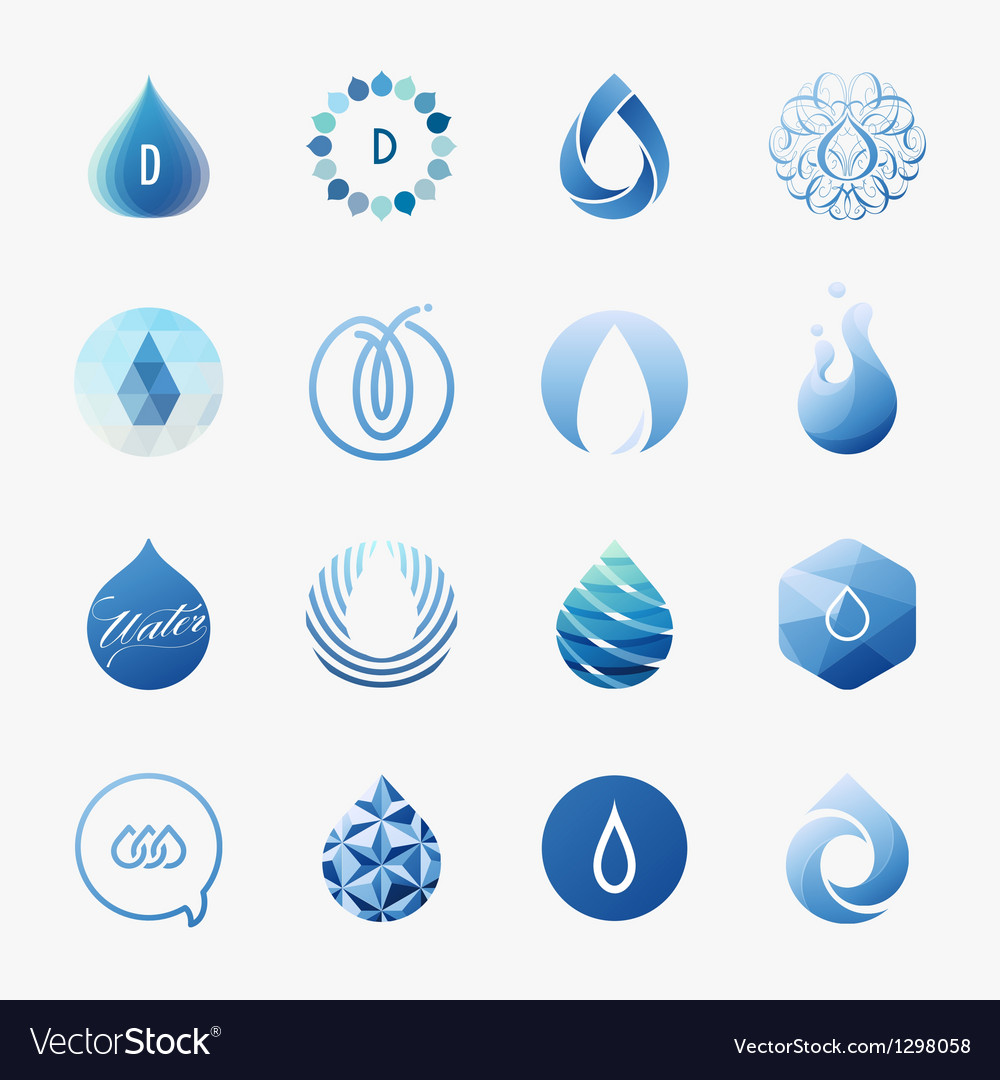 Drops  logo templates set  design elements vector