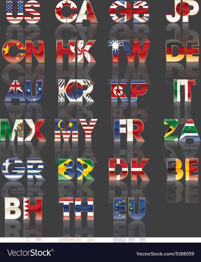 Flag  countries  abbreviation vector