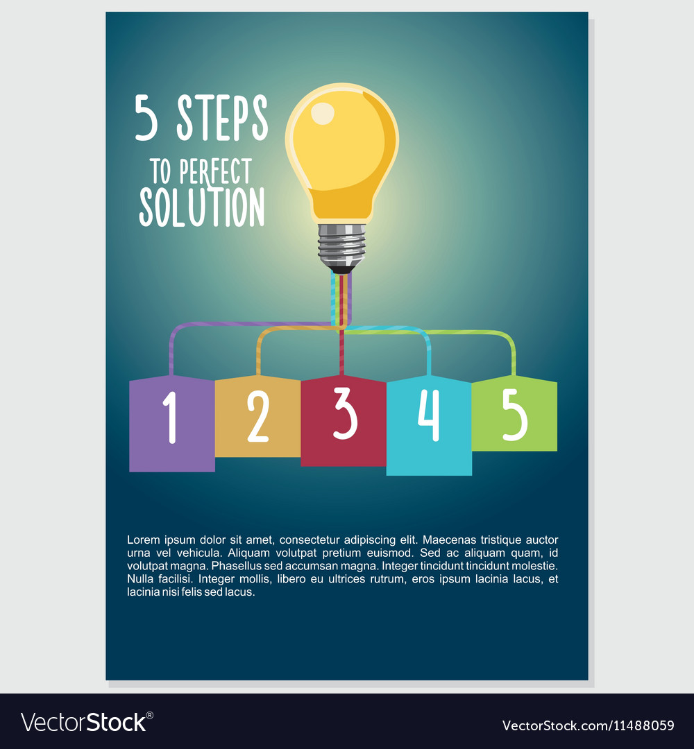 Infographic visualization with light buld five vector