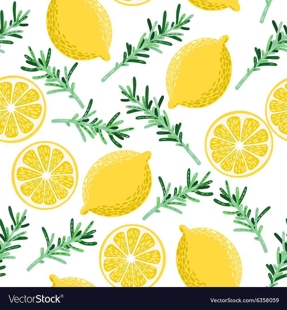 Seamless lemon and rosemary vector