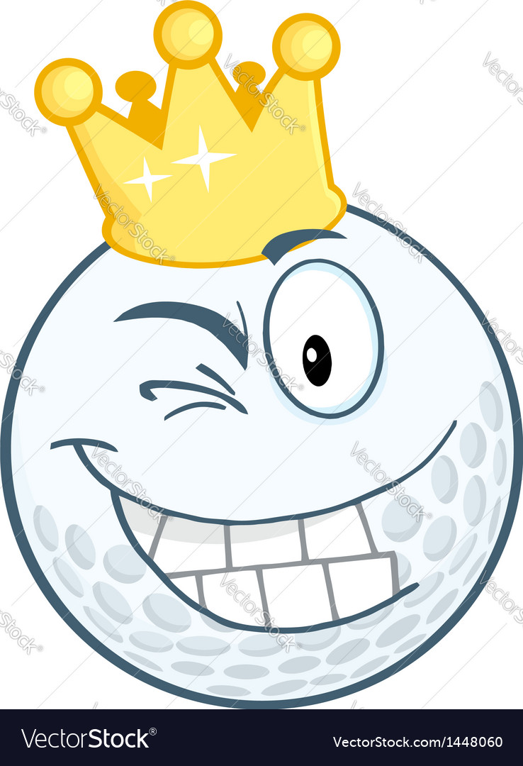 Smiling golf ball with gold crown winking vector