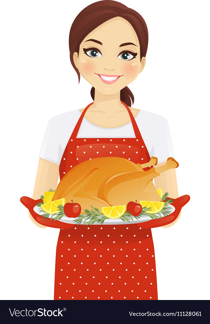 Woman with turkey vector