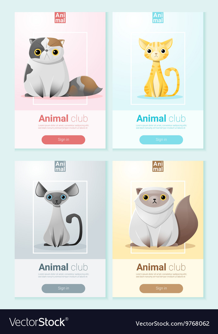 Animal banner with cats for web design 1 vector