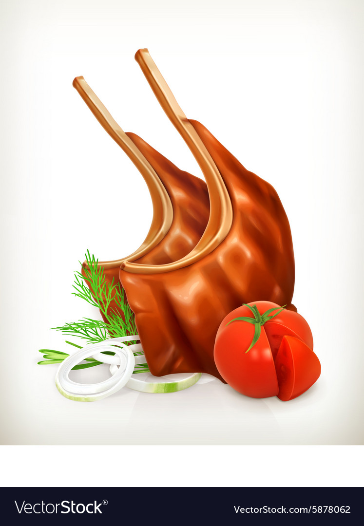 Grilled meat rib with vegetables icon vector