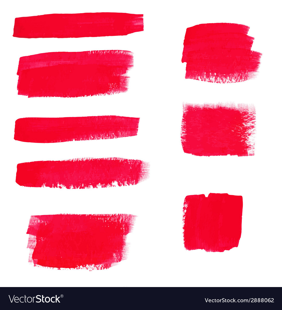Handdrawing red textures of brush strokes in vector