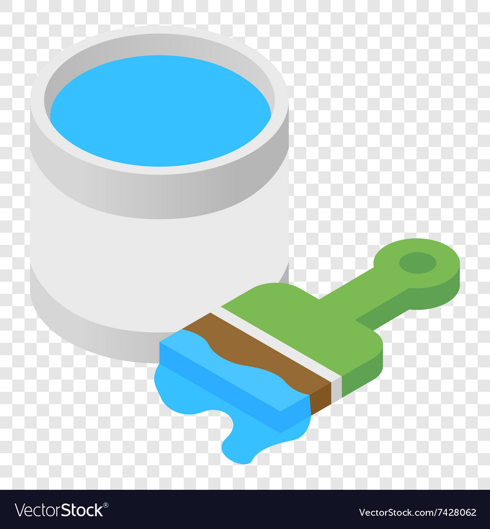 Paint and paint brush isometric 3d icon vector