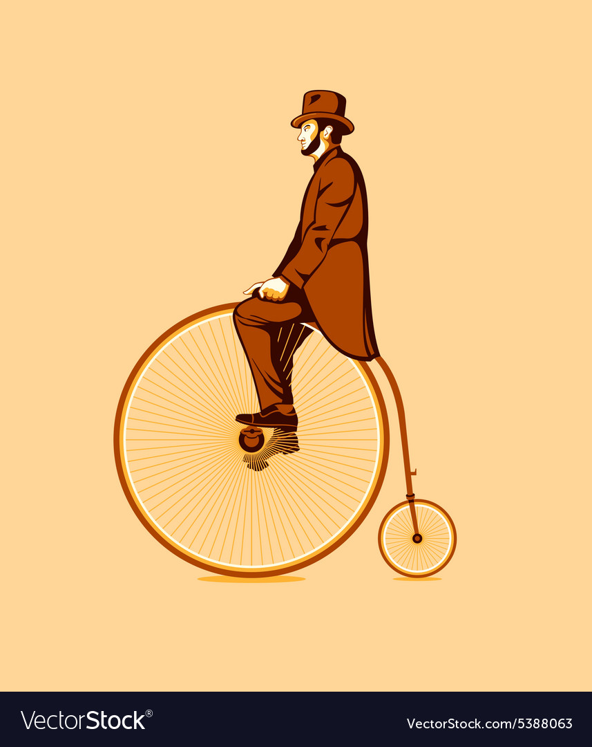 Riding a penny farthing vector