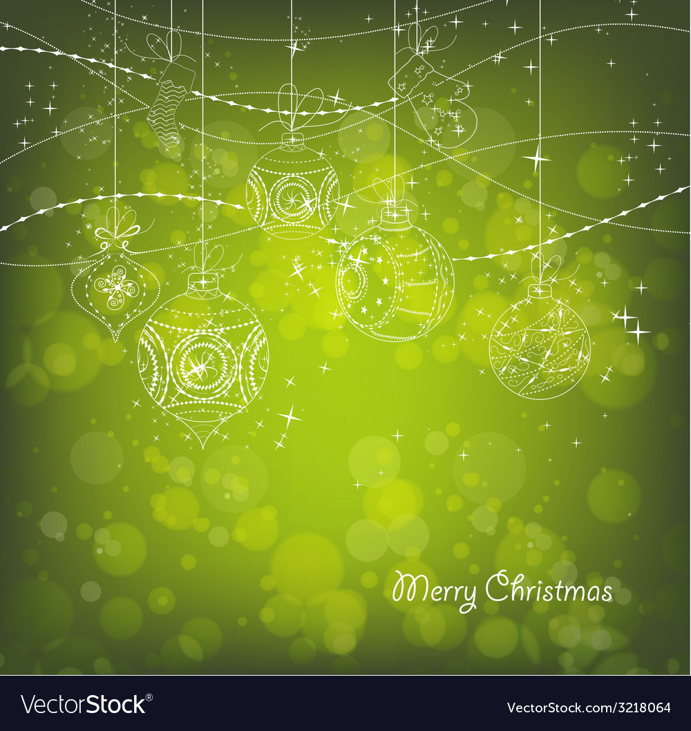 Green christmas background with christmas vector