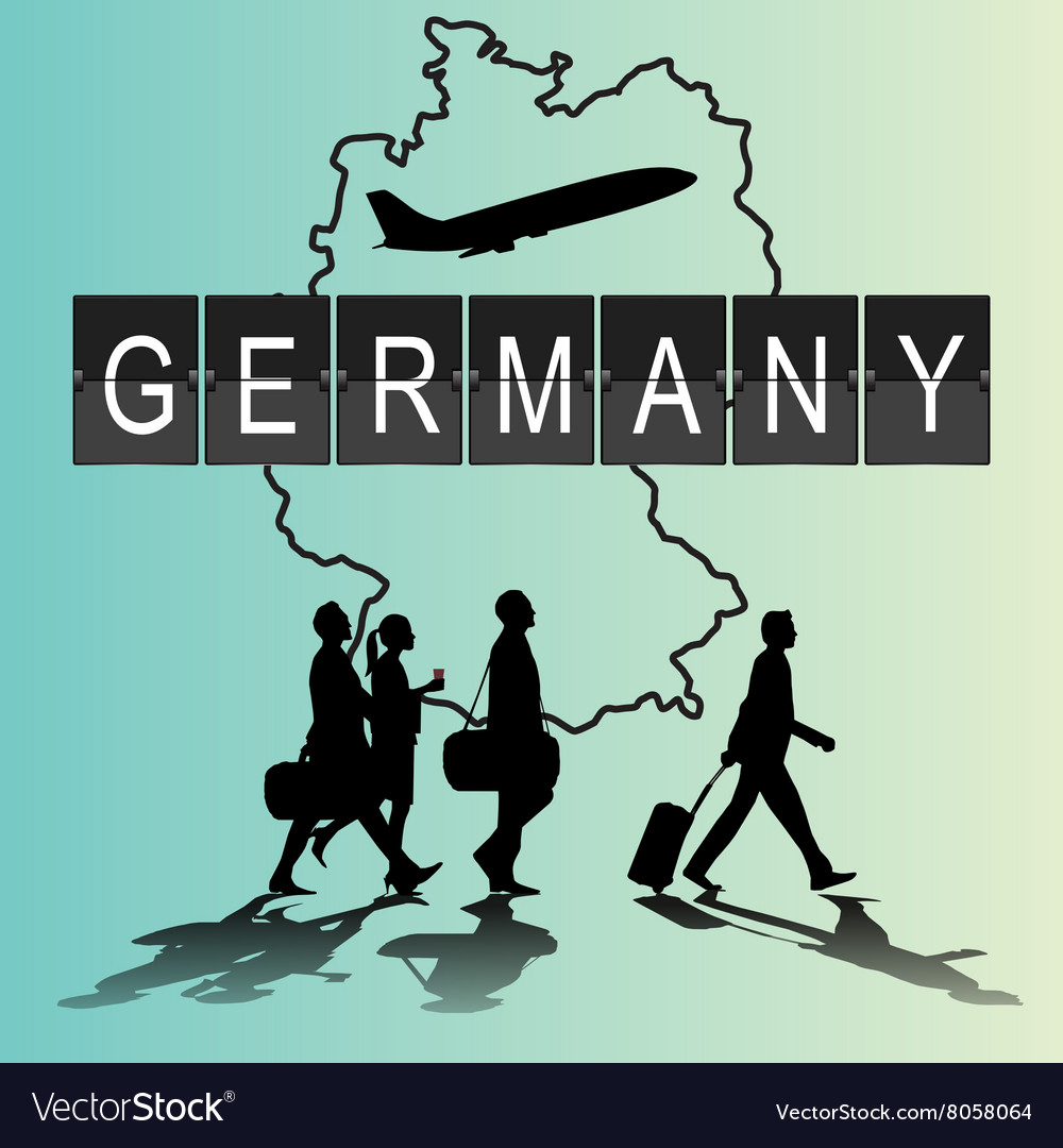 Silhouette people on germany digital board vector