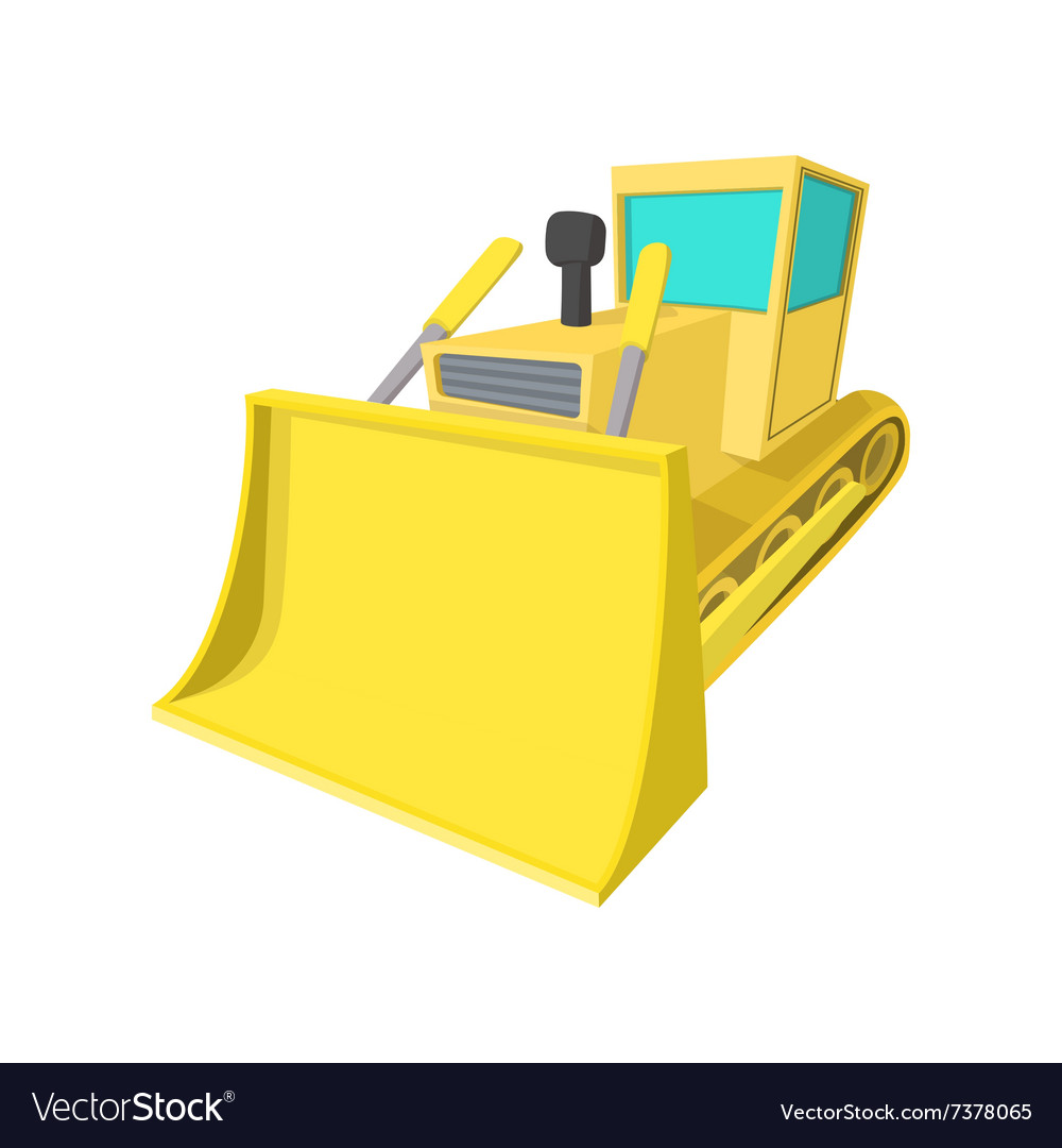 Bulldozer cartoon icon vector