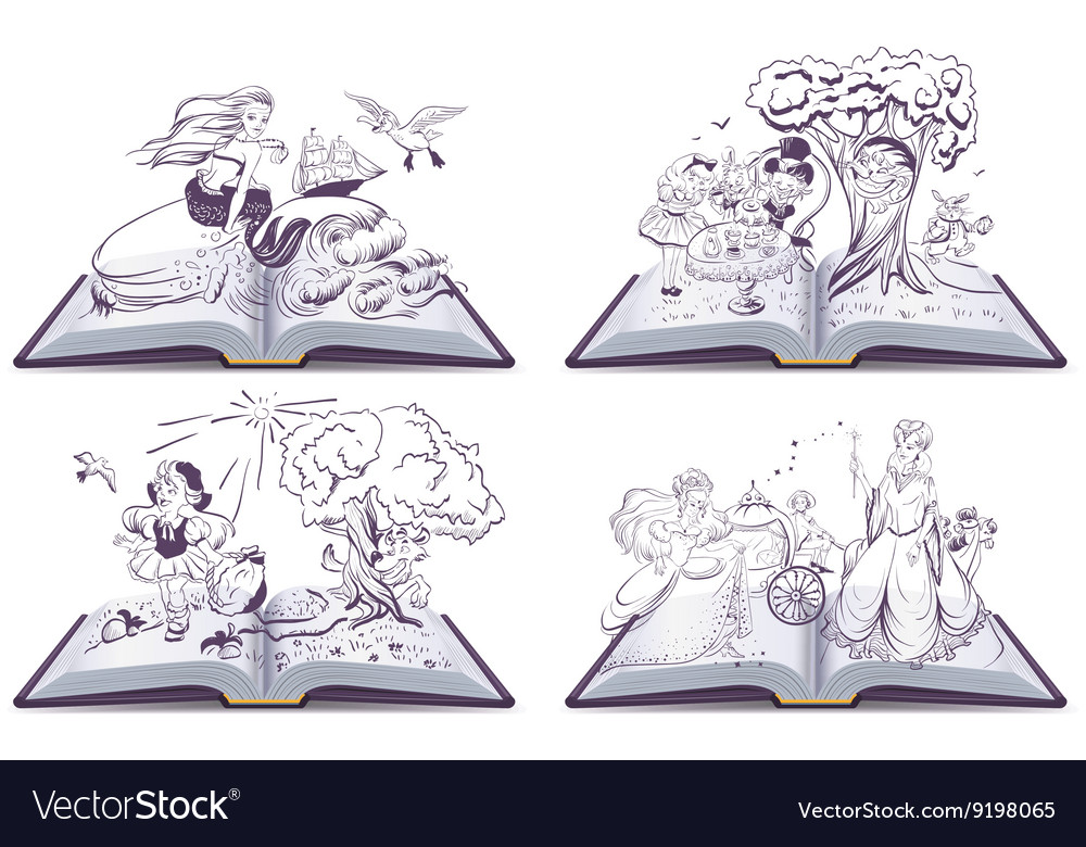 Set open book fairy tale vector