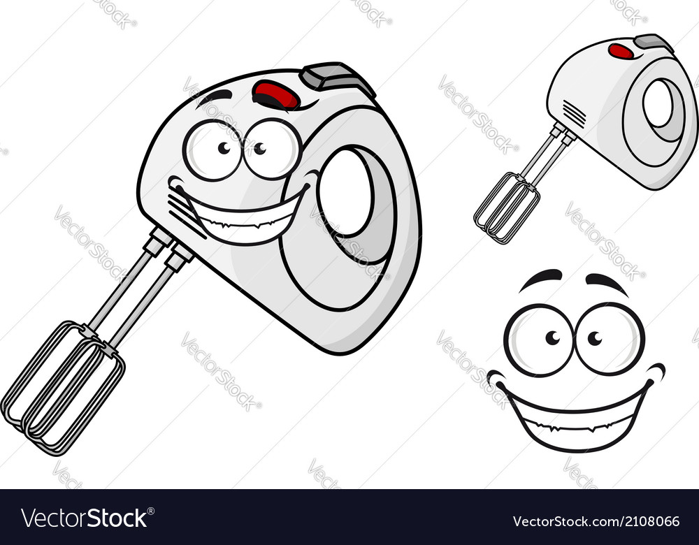 Smiling happy electrical egg beater vector