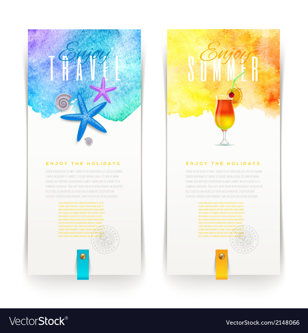 Summer and travel watercolor banners  vector
