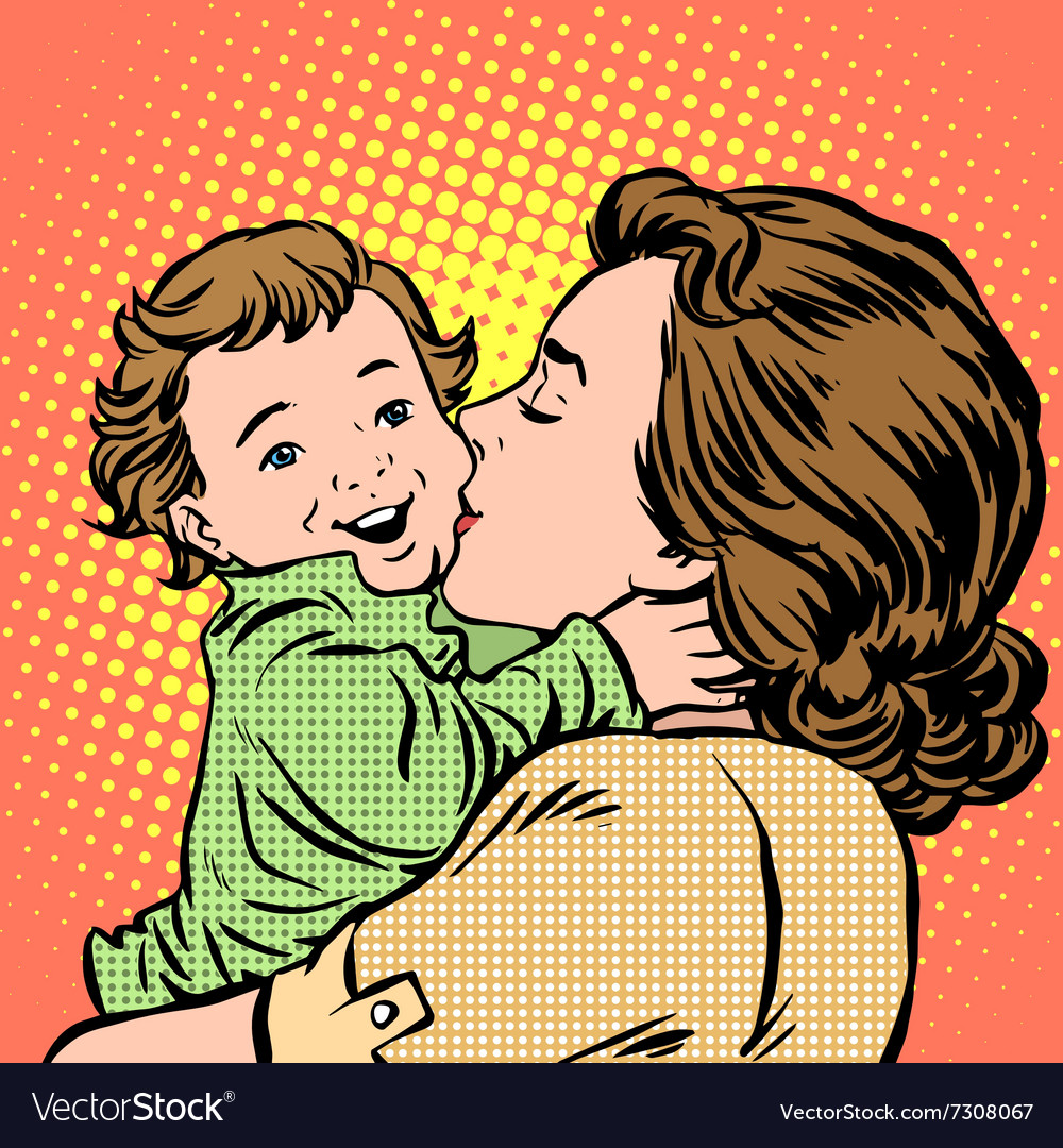 Mother kissing baby vector