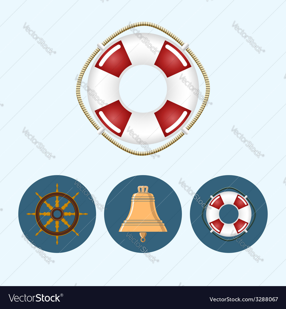 Set icons with colored bell lifebuoy ship wheel vector