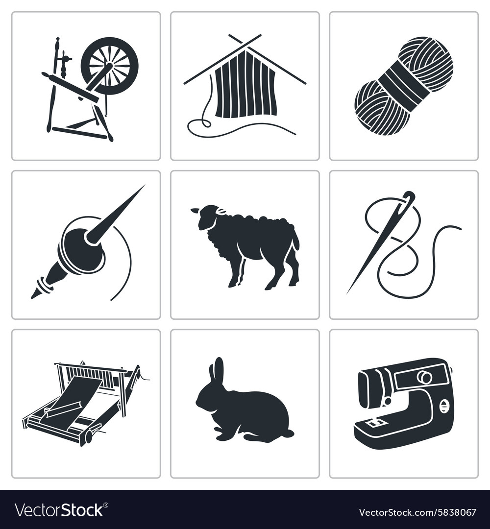 Wool knitting icons vector