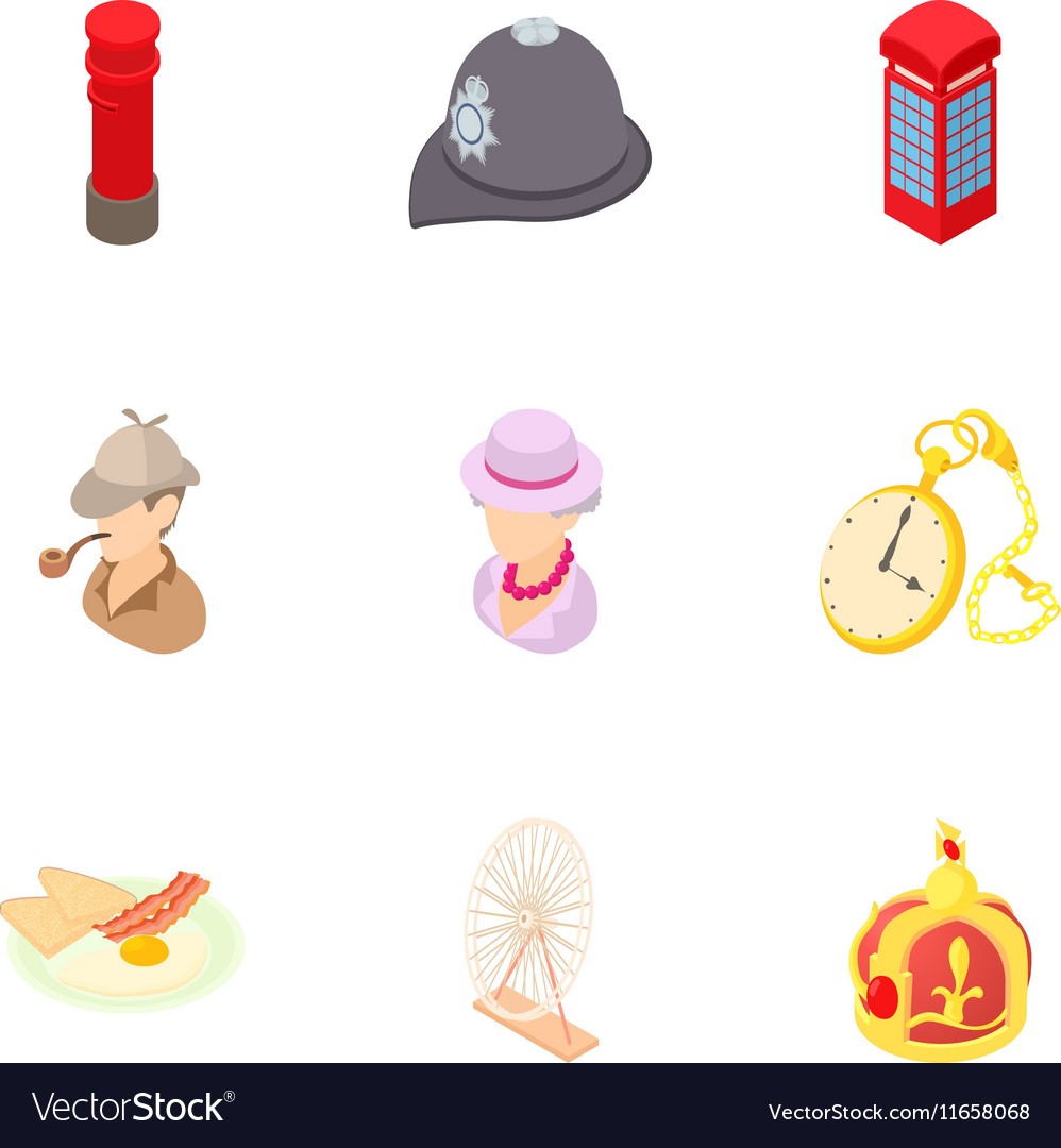 Attractions of england icons set cartoon style vector