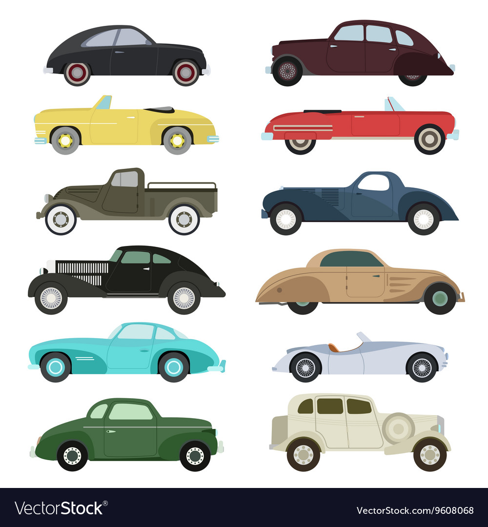 Retro car set vector