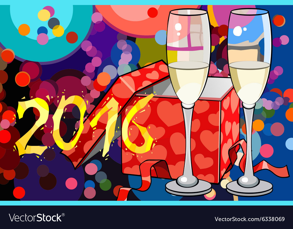 2016 christmas card with two glasses of champagne vector