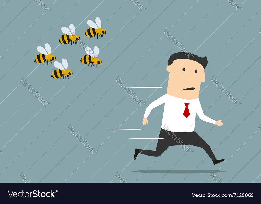 Businessman running away from angry bees vector