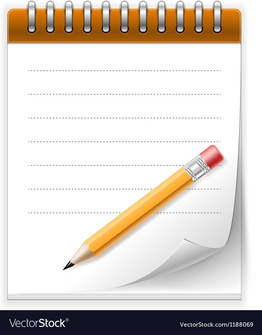 Notepad paper with pencil vector