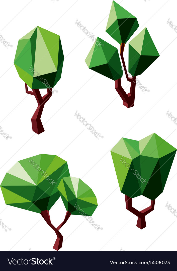 Abstract polygonal green trees icons vector