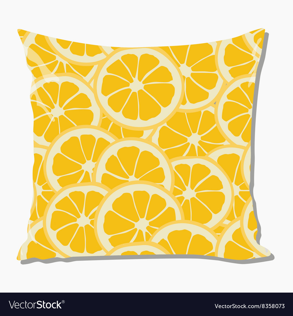 Pillow with orange pattern vector