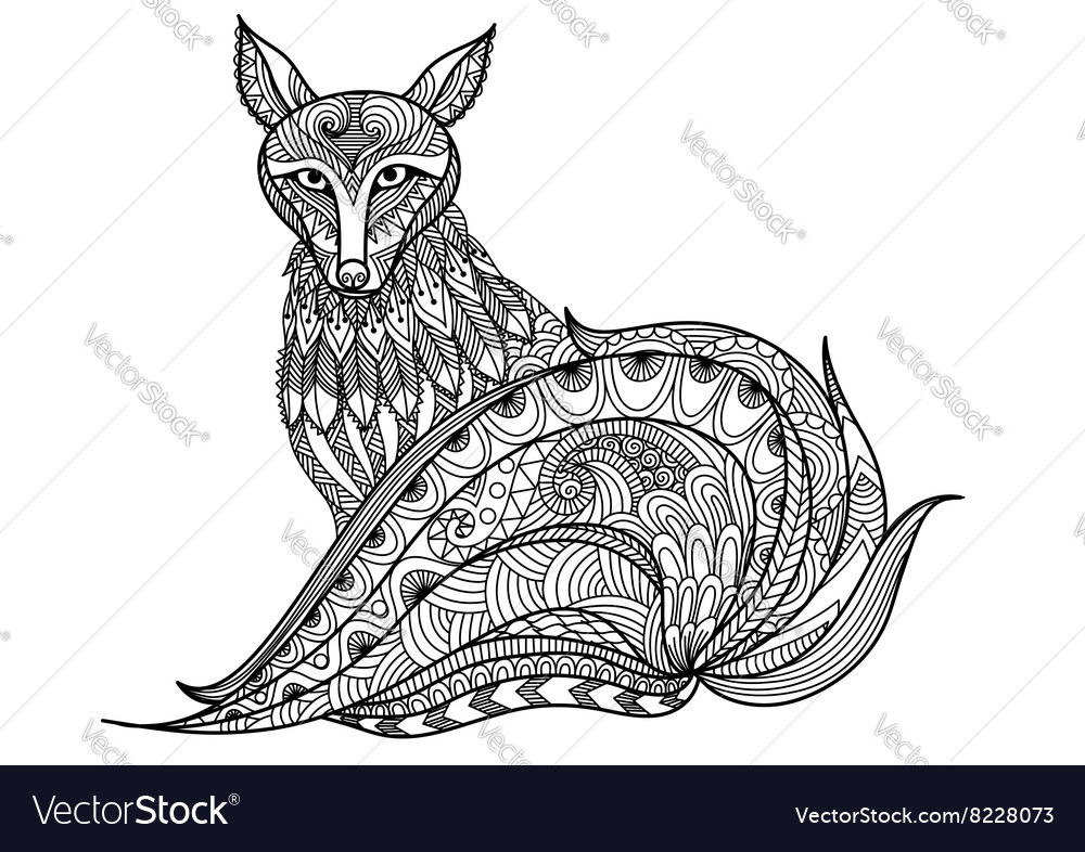 Red fox coloring vector