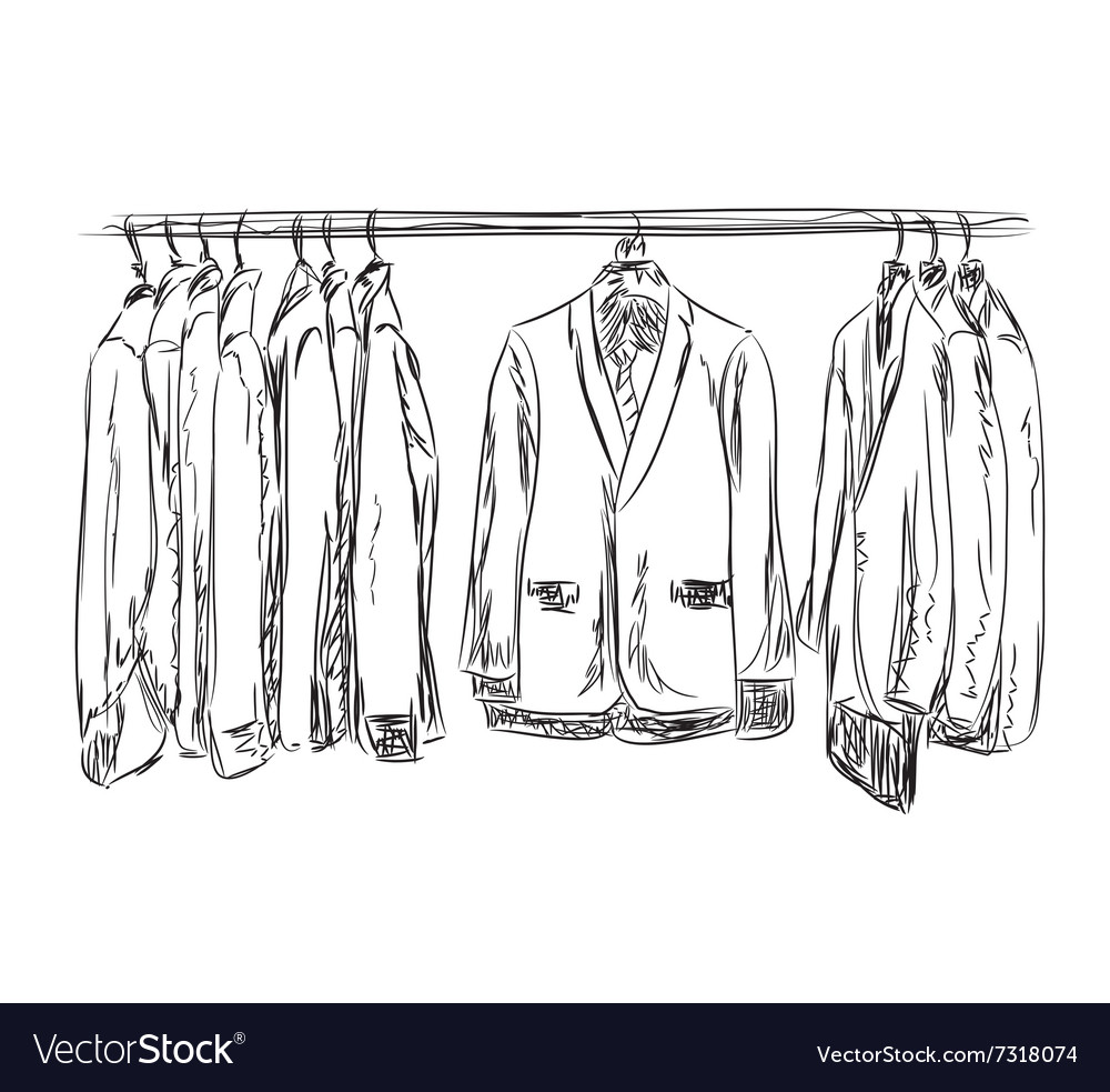 Hand drawn wardrobe sketch mans dresscode suit vector