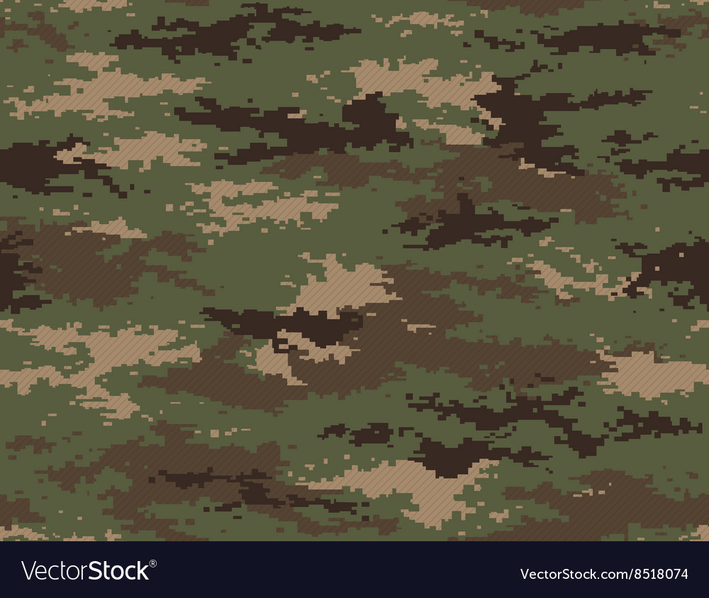 Pixel camouflage woodland green seamless pattern vector
