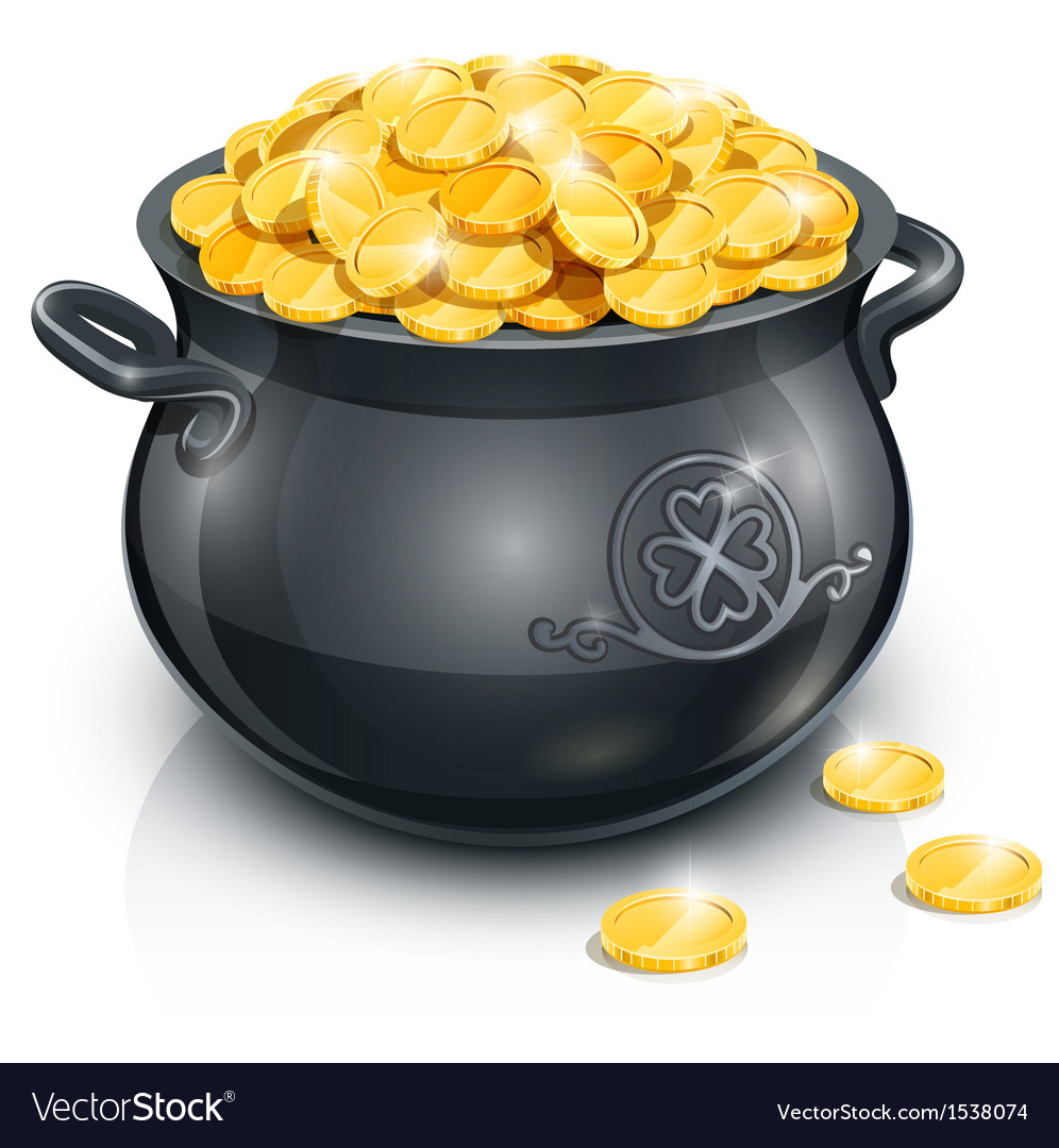 Pot with gold coin for vector
