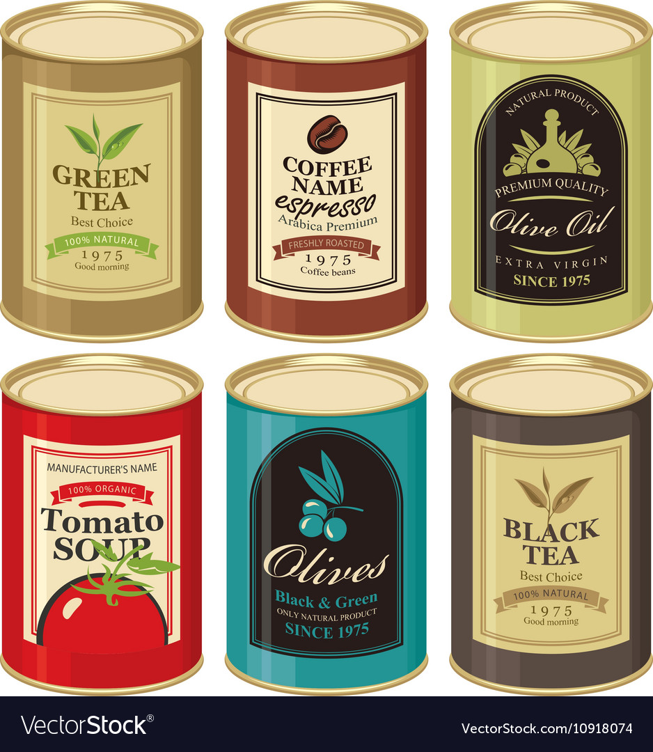 Tin can with label of various canned foods vector