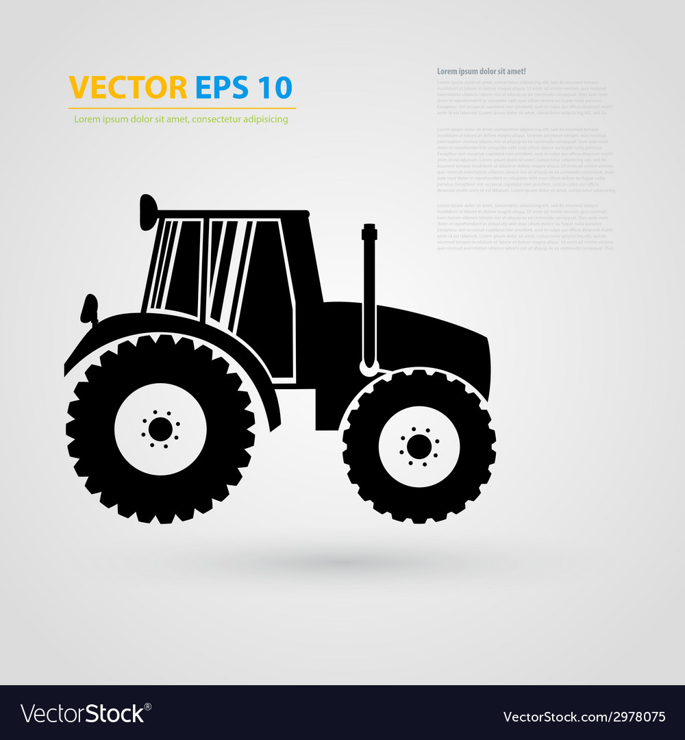 Isolated tractor icons silhouettes vector
