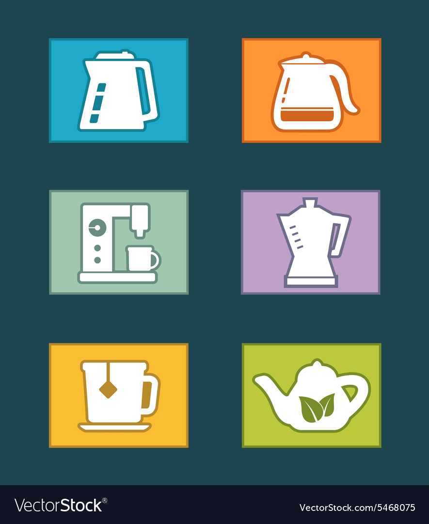 Kettle icons set vector