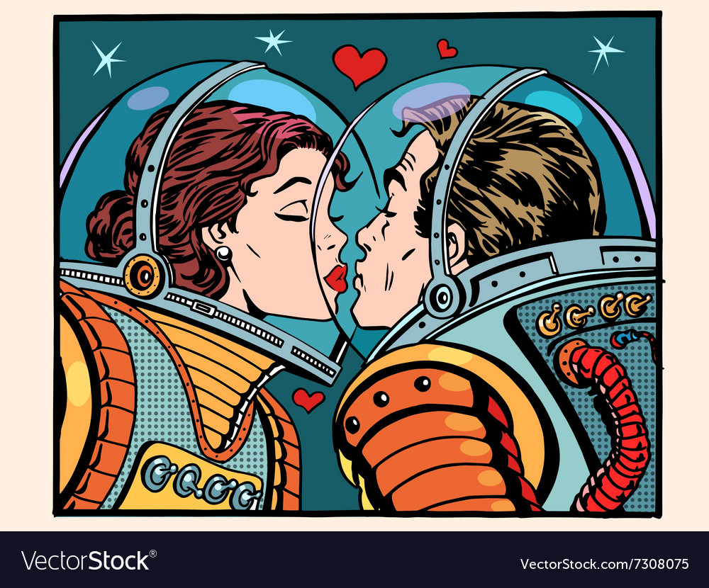 Kiss space man and woman astronauts vector