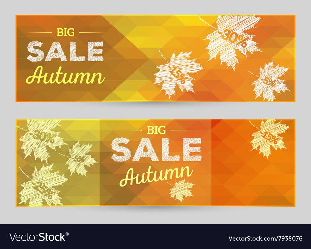 Autumn sale horizontal banner vector