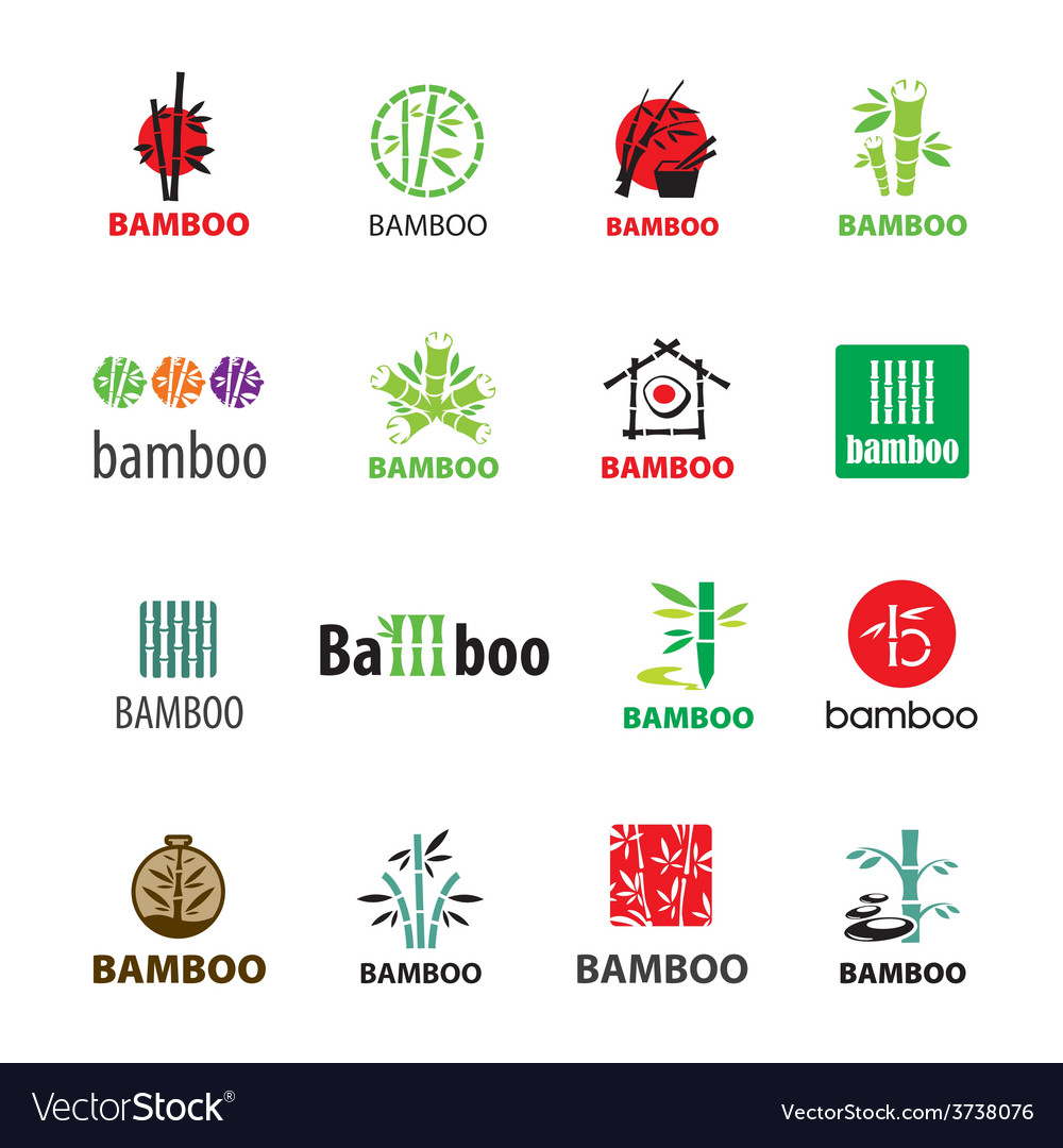 Biggest collection of logos bamboo vector