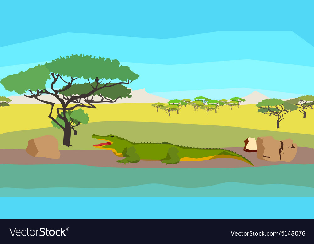 Crocodile near the river seamless animal nature vector