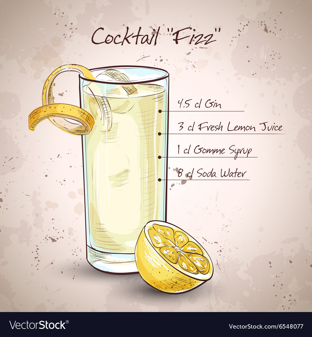 Gin fizz cocktail vector