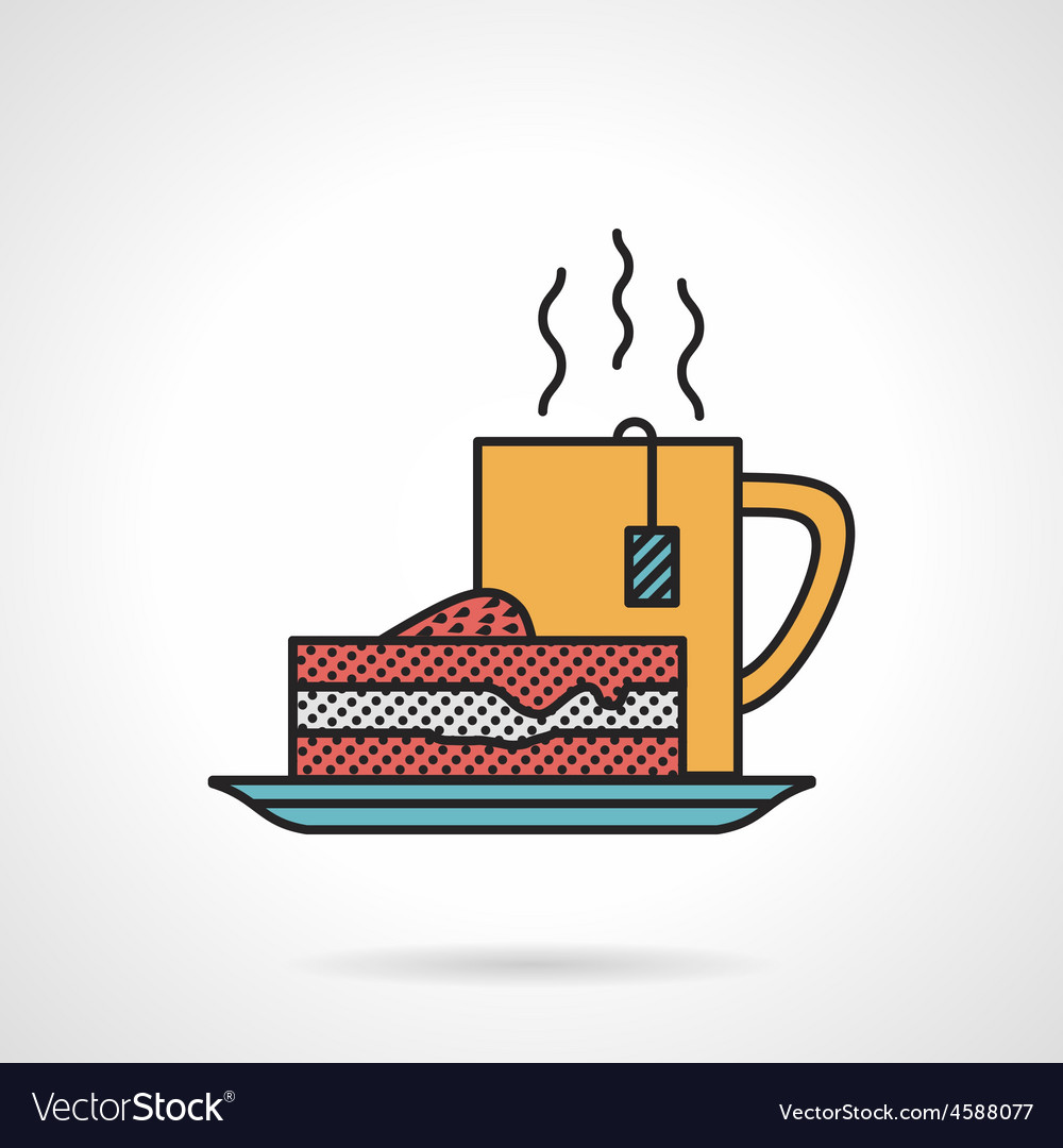 Tea and cake flat icon vector