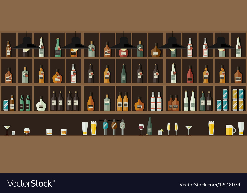 Bar counter with drinks vector