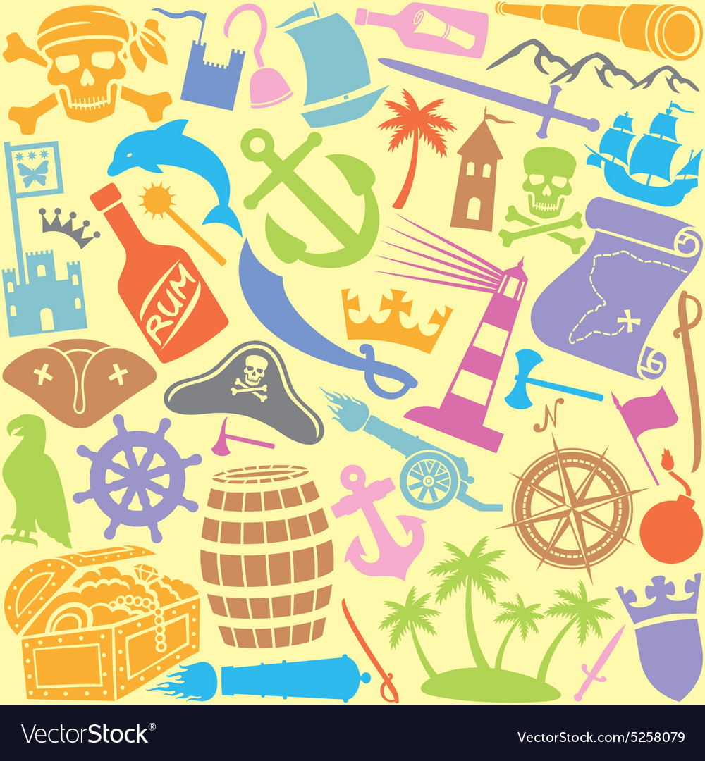 Pirates icons seamless pattern vector
