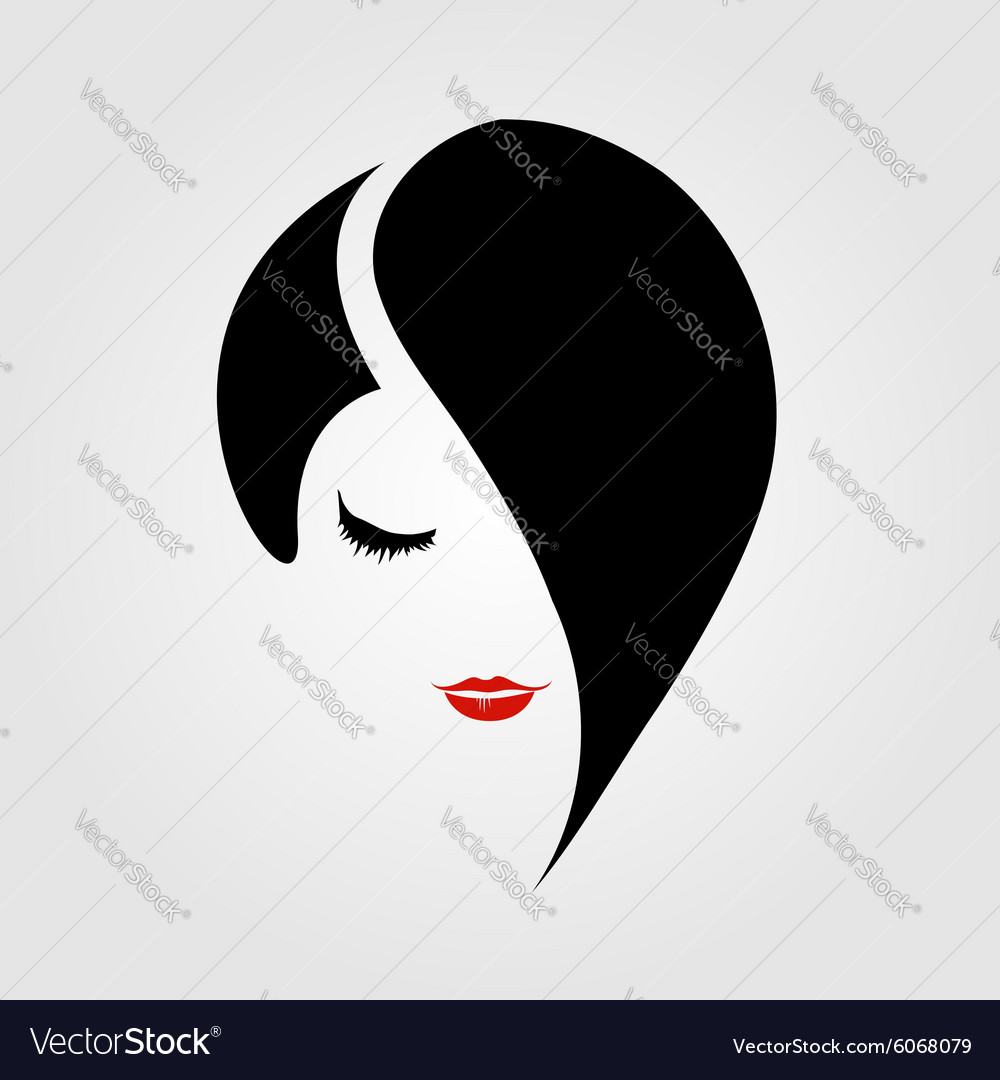 Woman with red lipstick and emo hairstyle vector