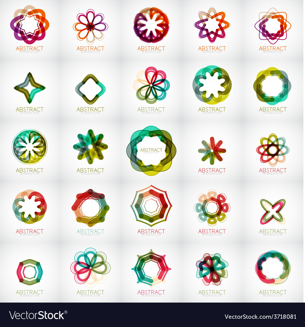 Set of abstract star flower shape logos vector