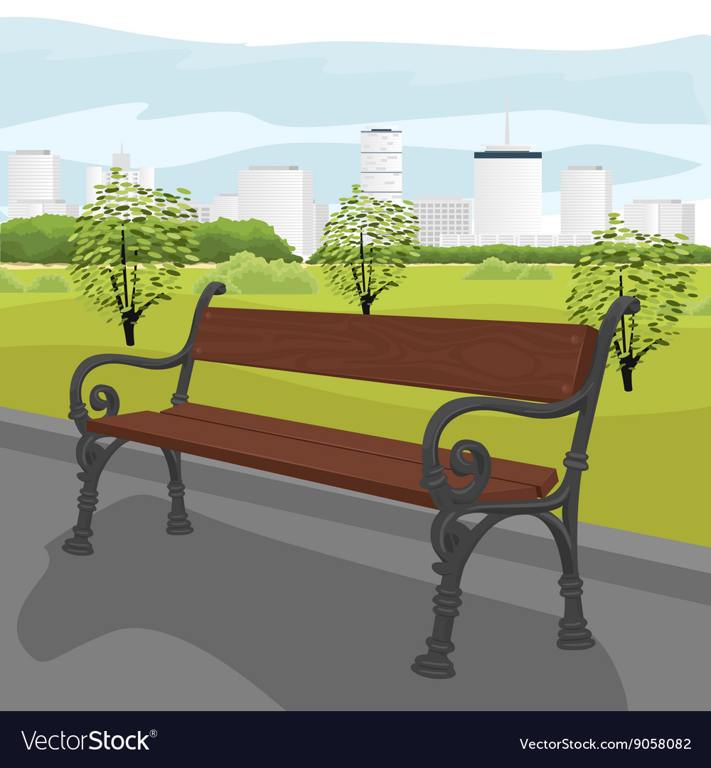 Empty wooden bench in city park in summer vector