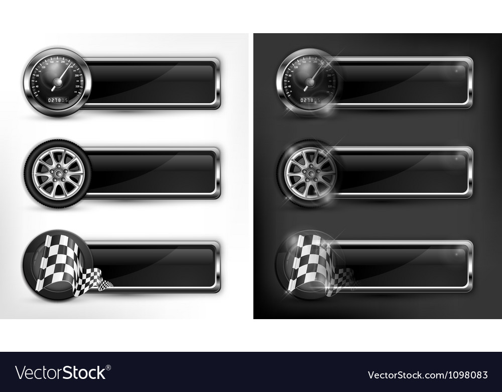 Icons speedometer races checkered flag vector