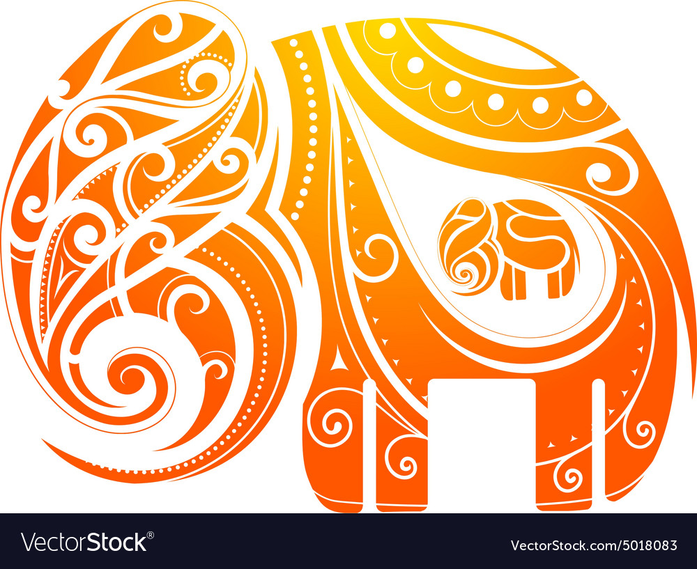 Ornamental elephant shape vector